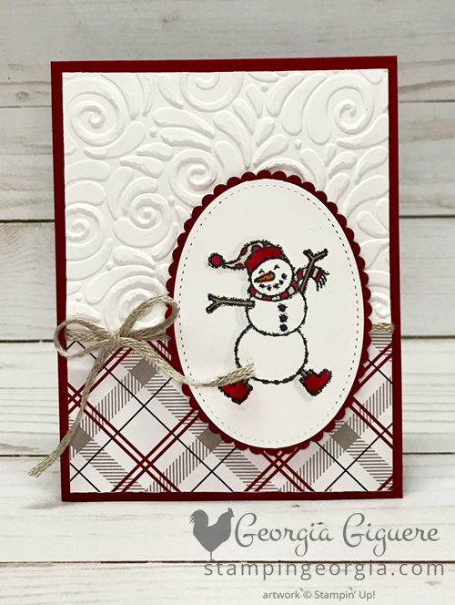 Winter Card with Spirited Snowman features the Spirited Snowman stamp set, Swirls & Curls Embossing Folder, and the Festive Farmhouse Designer Series Paper. Details on my blog: https://wp.me/p92iP7-38X SHOP: www.georgia.stampinup.net