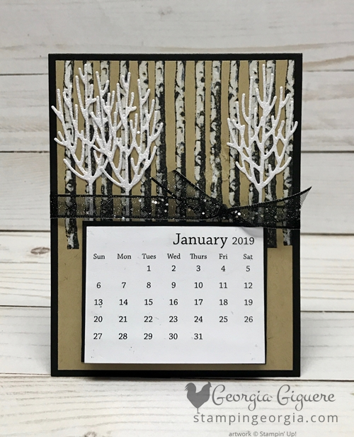 Winter Woods Desk Calendar features the stamp set and coordinating In The Woods Framelits Dies. Complete details on my blog: https://wp.me/p92iP7-38z SHOP: www.georgia.stampinup.net #winterwoodsbundle #diydeskcalendar #inthewoodsframelitsdies